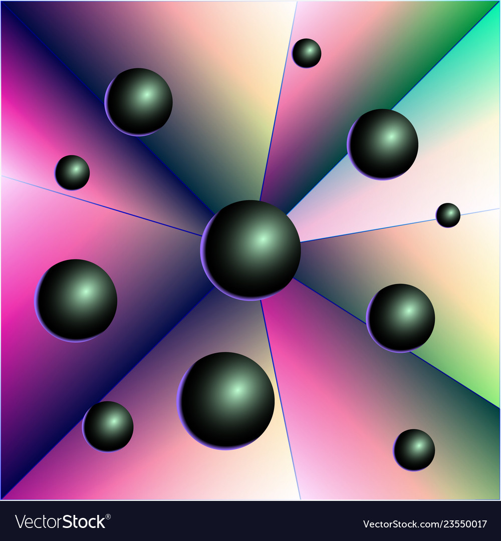 Abstraction balls triangles geometrical figure