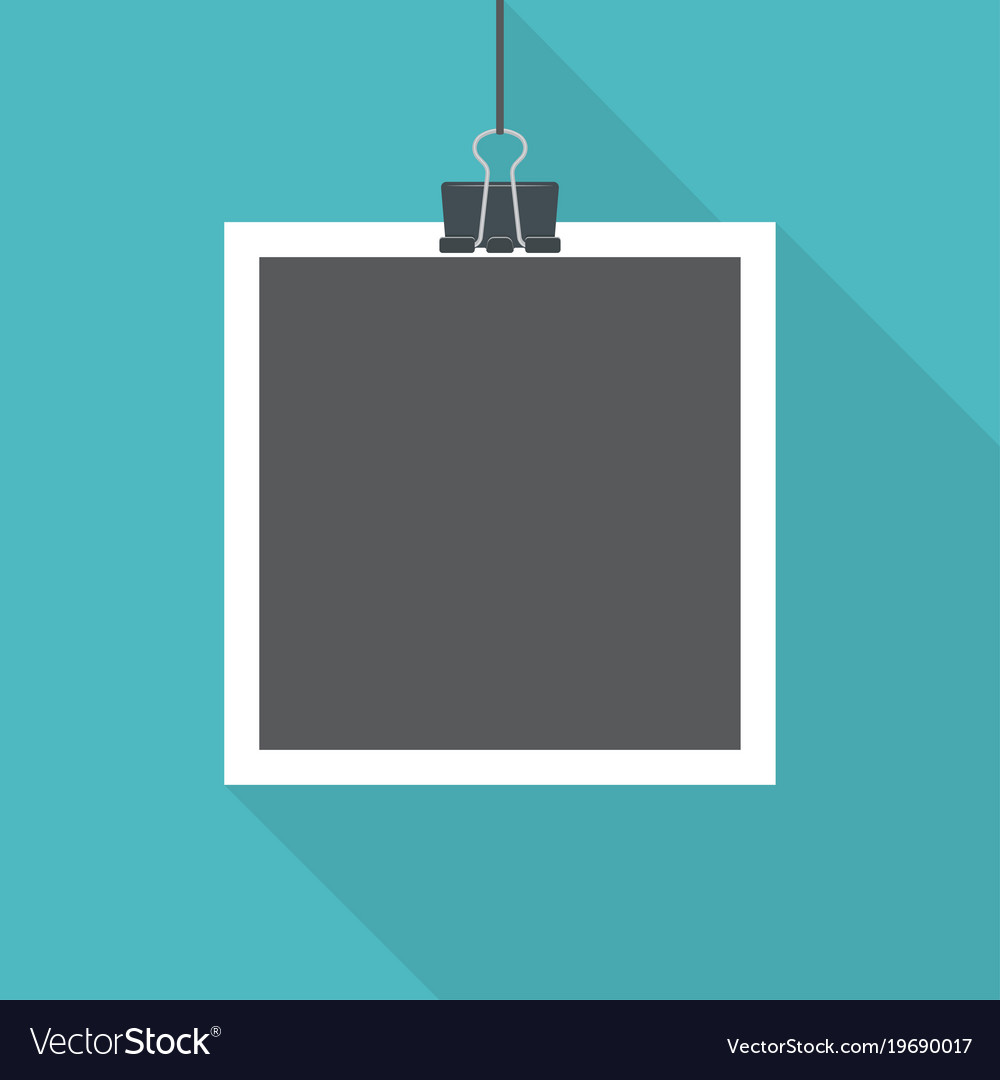 Blank photo frame with shadow hanging with paper vector image