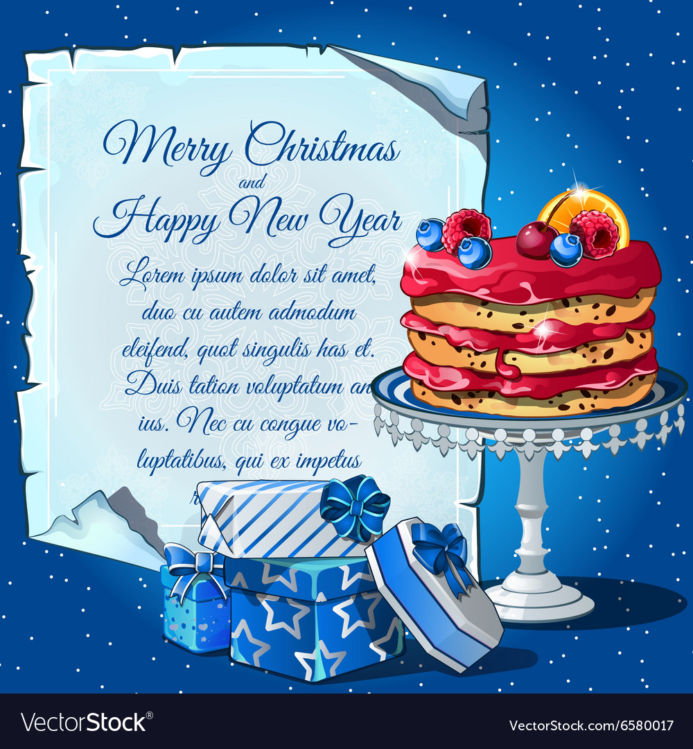 Christmas cake gift boxes and card for text