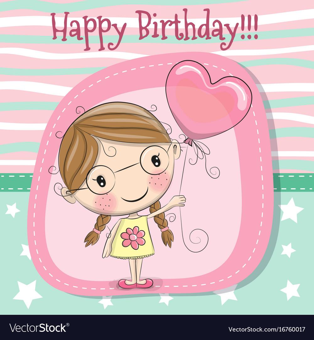 cute cartoon girl with balloon royalty free vector image