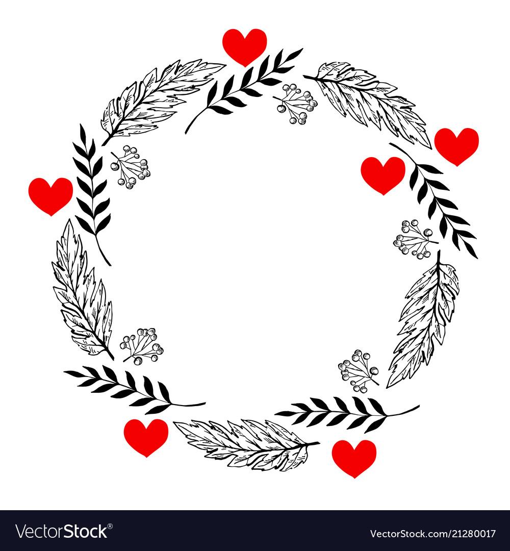 Doodle heart and leaf circle frame