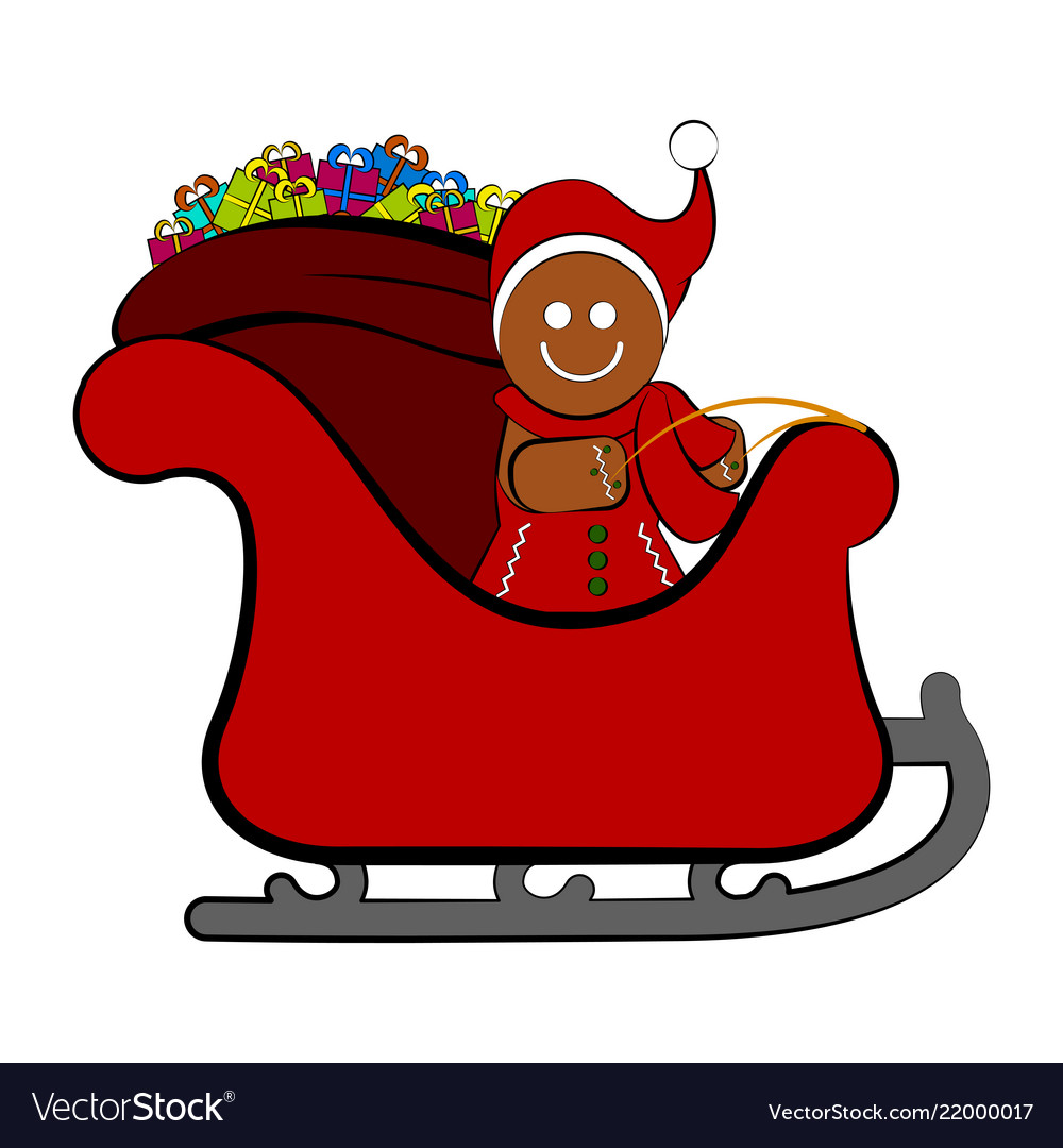 Gingerbread cookie on a christmas sledge
