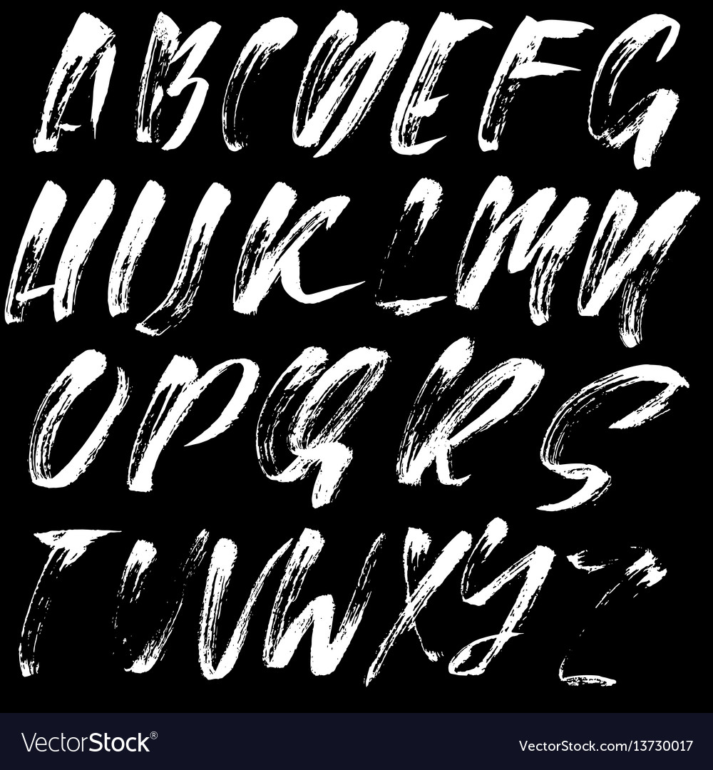 Hand drawn font made by dry brush strokes modern vector image