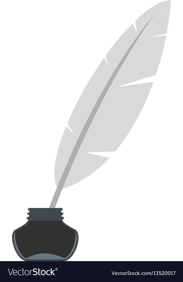 Ink with pen icon flat style vector image