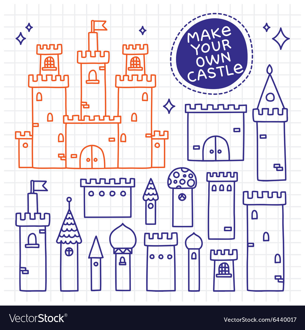 Make your own castle Hand drawn doodle tower
