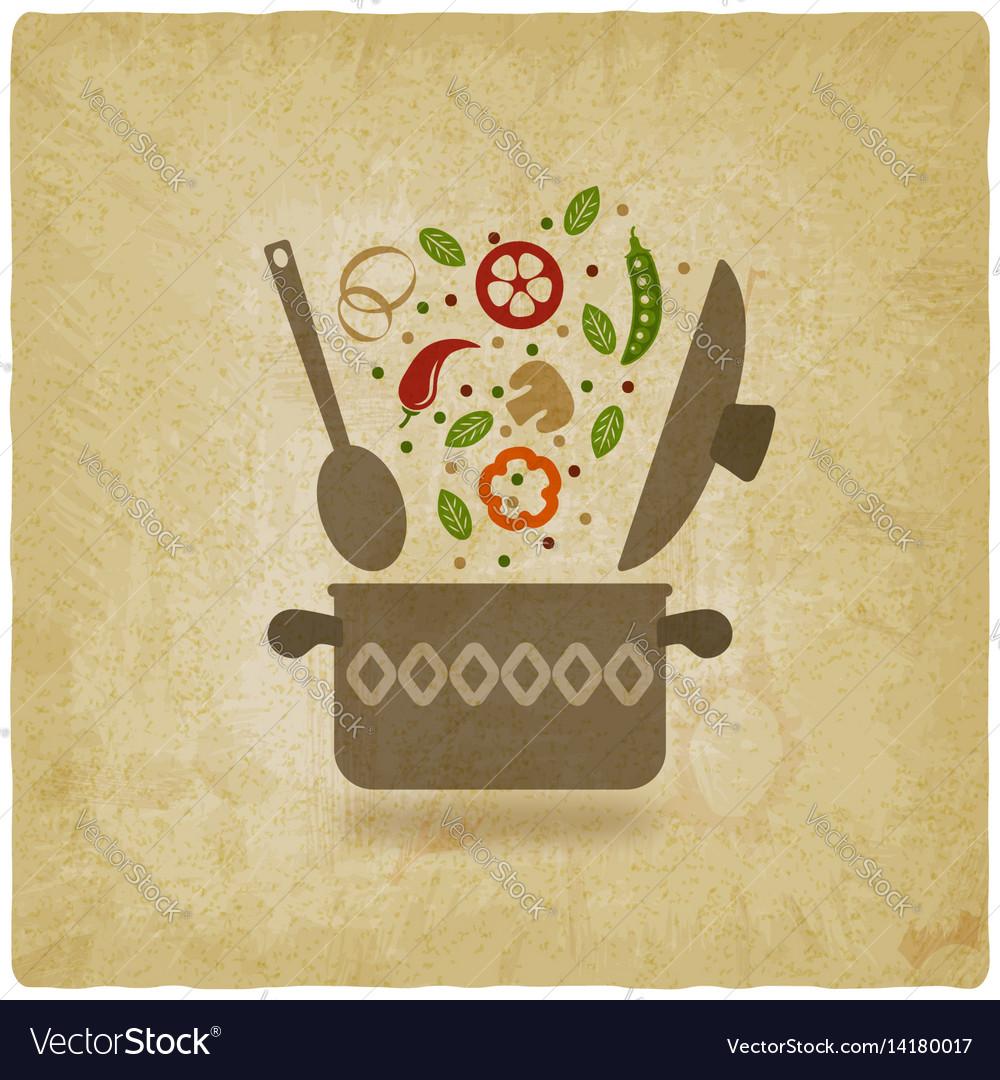 Pot with vegetables vintage background vector image