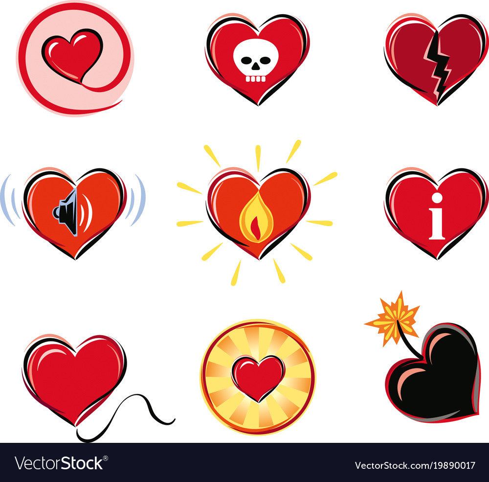 Series Of Heart Shaped Symbols Royalty Free Vector Image
