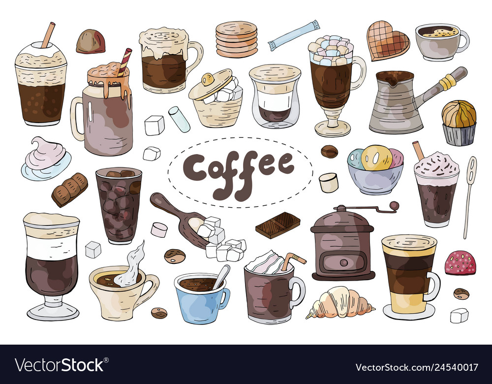 Set of hand drawn different types of coffee on the
