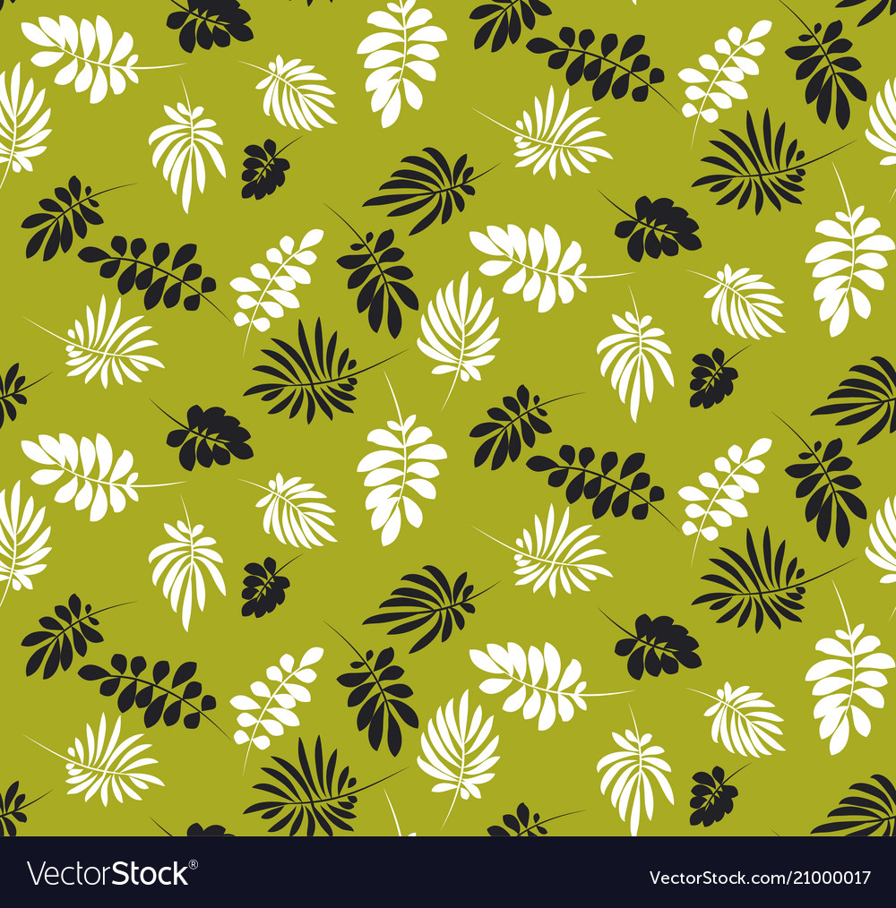 Simple flat tropical leaves monochrome pattern