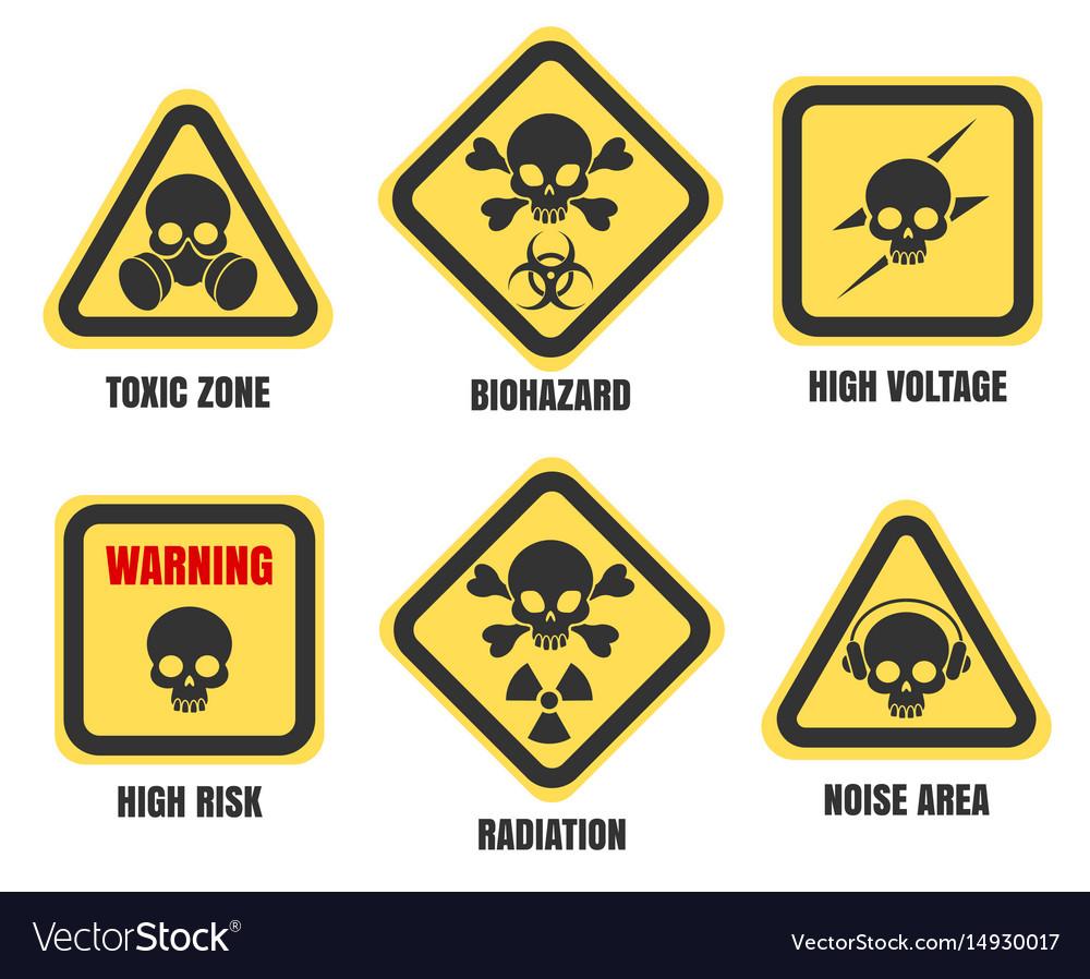 Skull signs death notice symbols set
