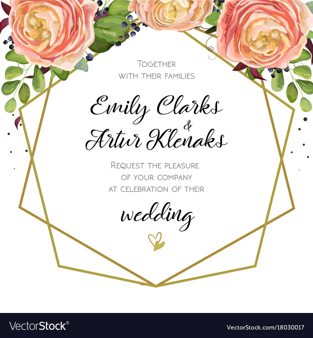 Wedding invitation floral invite card design with vector image stopboris Choice Image