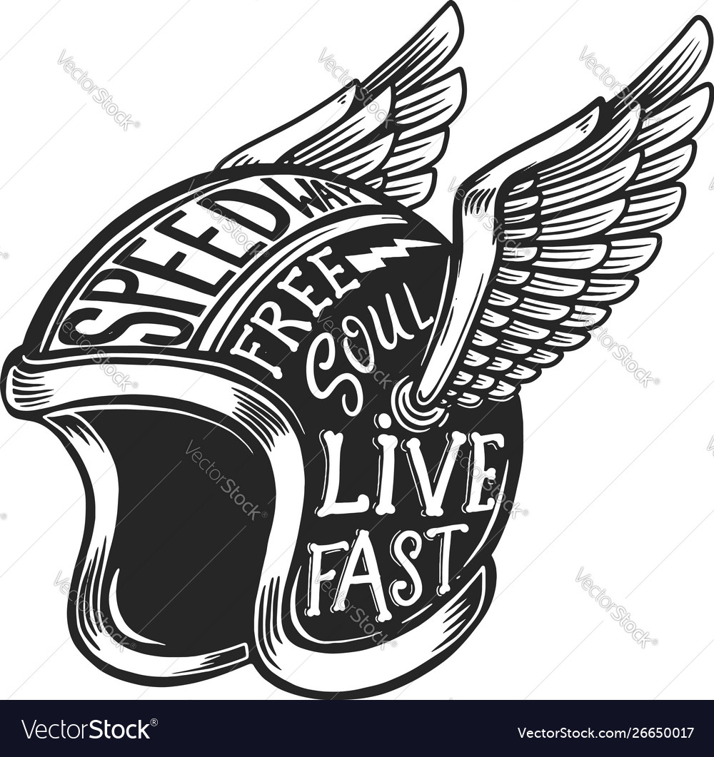 Winged motorcycle helmet with lettering on light
