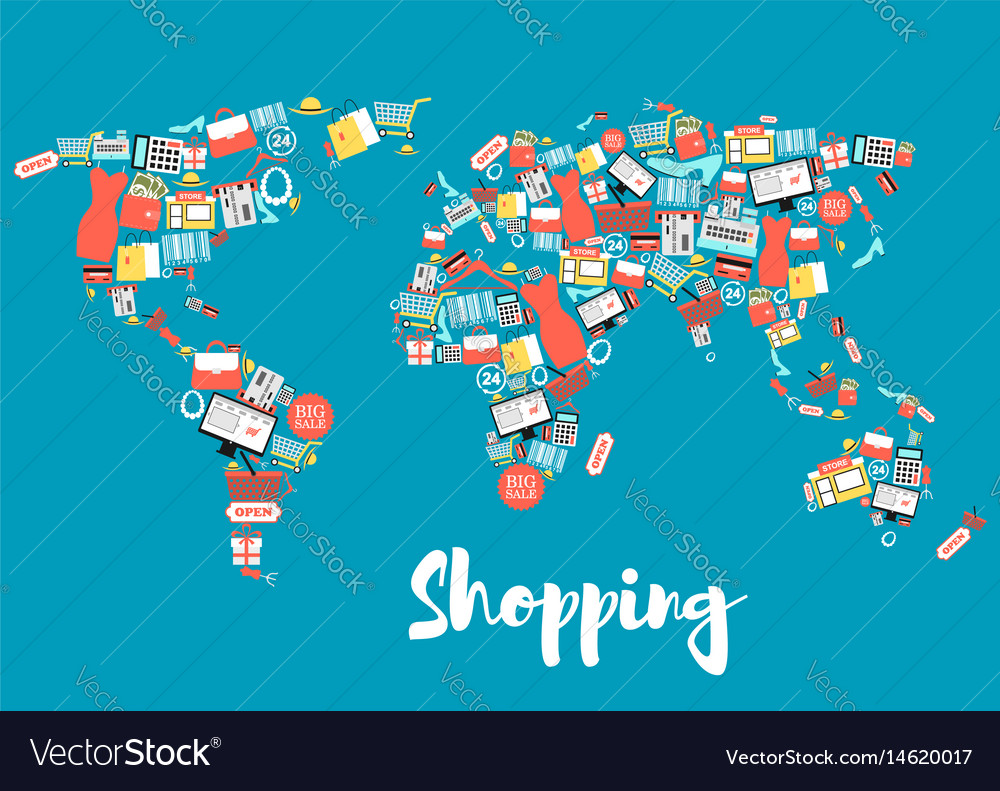 World map with shopping and sale icons