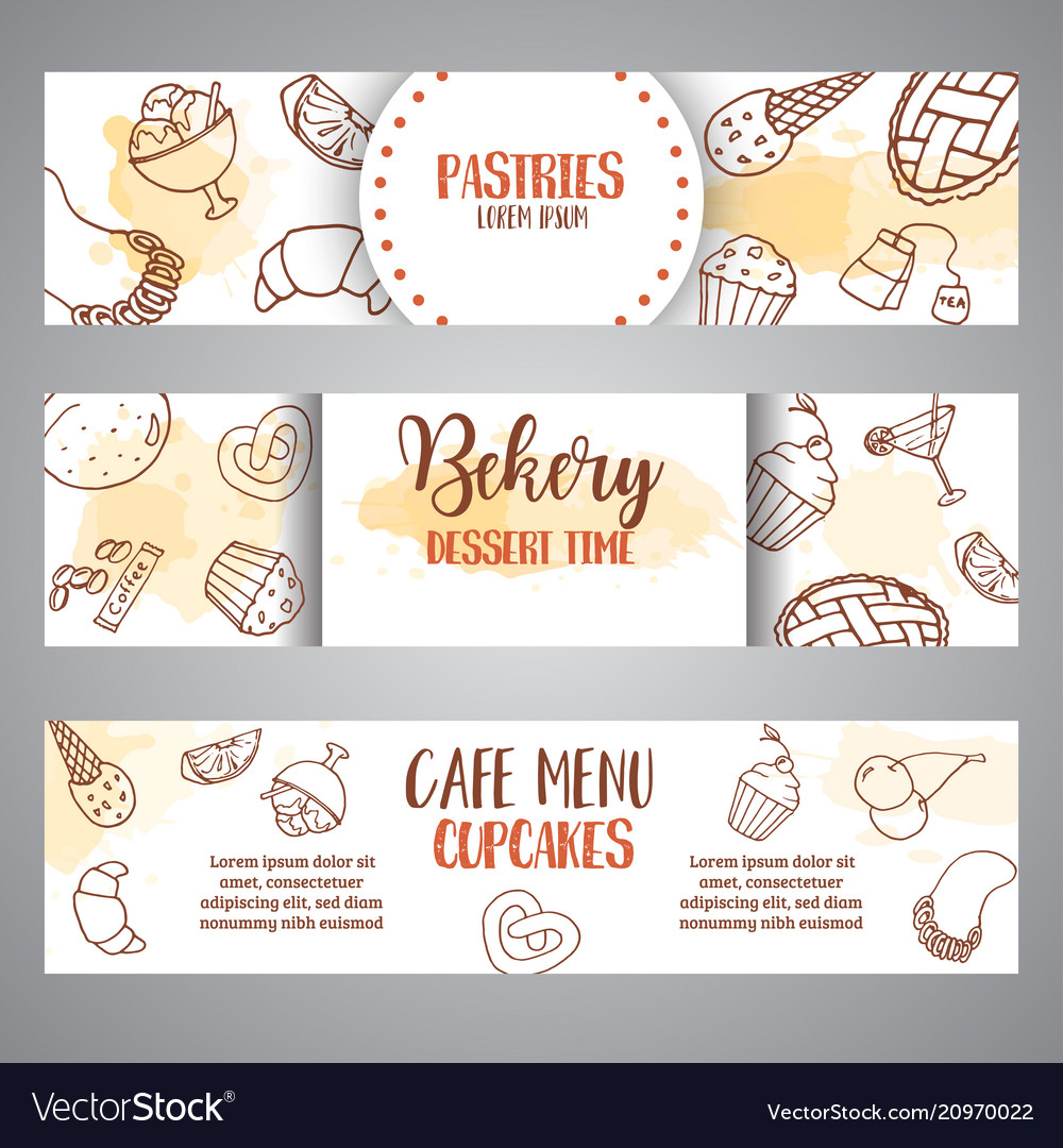 Bakery horizontal banners with pastries sweet