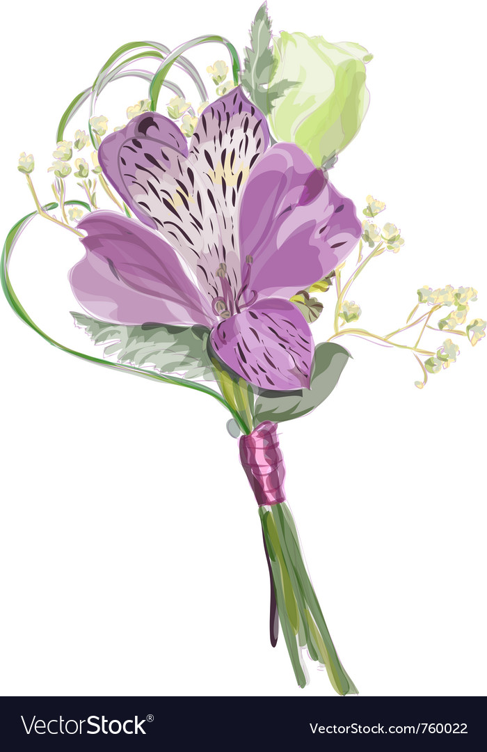Boutonniere with alstroemeria and eustoma vector image