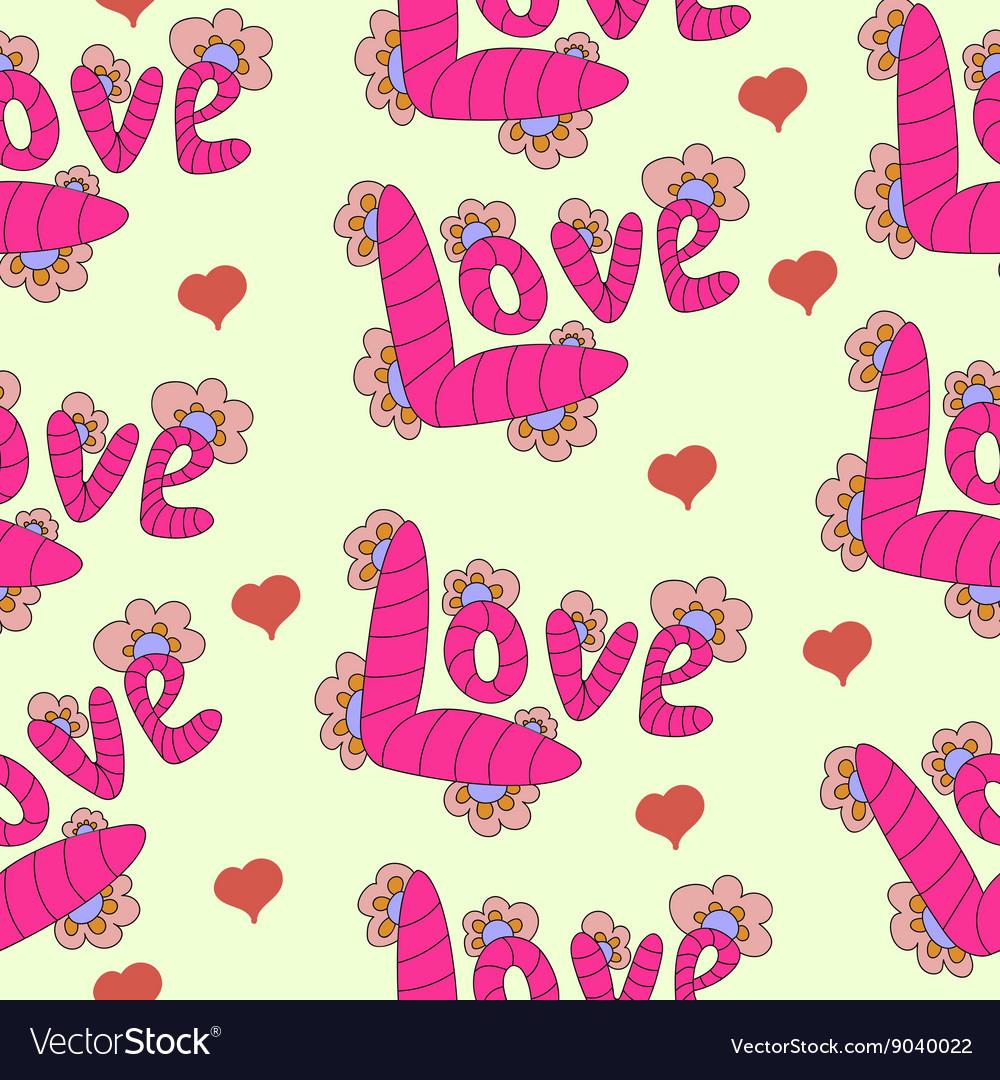 Cartoon letters inscription love