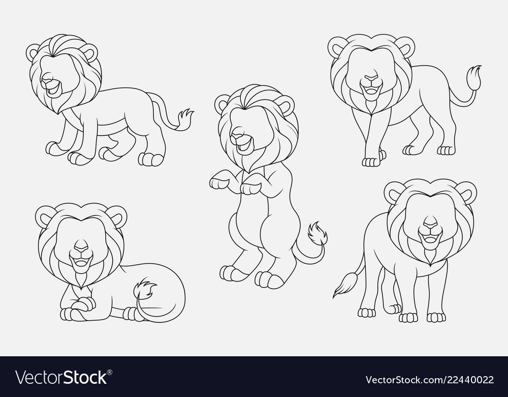 Cartoon lion thin lines collection isolated on whi