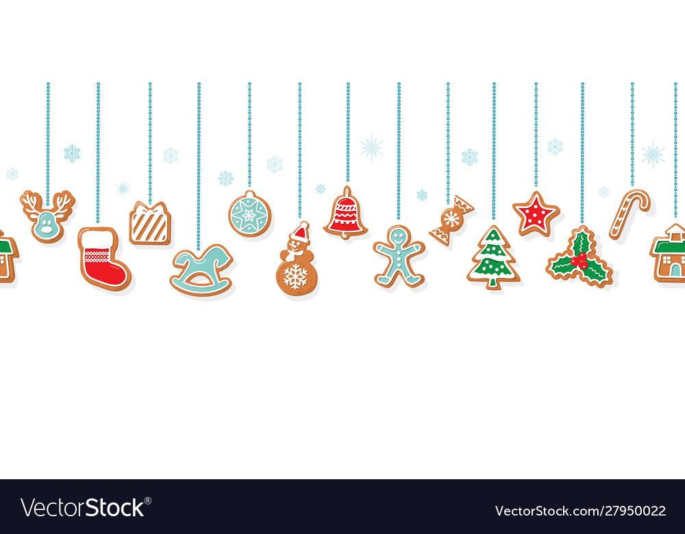 Christmas gingerbread cookies garlands horizontal