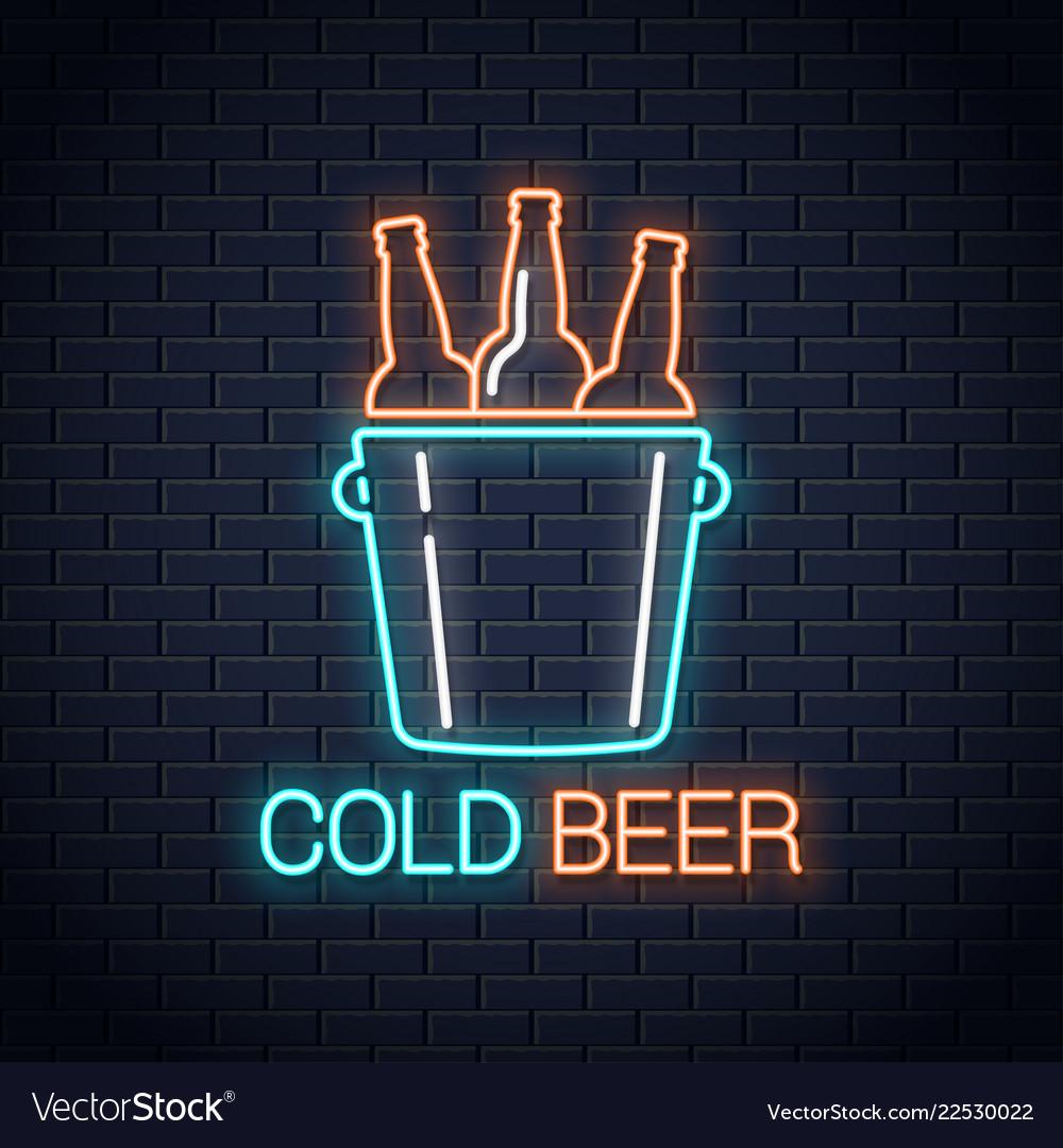 Cold beer neon banner beer bottles neon sign on