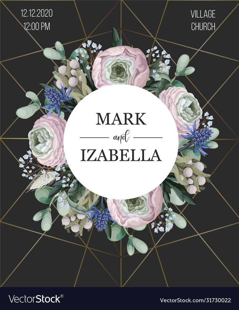 Delicate wedding invitation with ranunculus