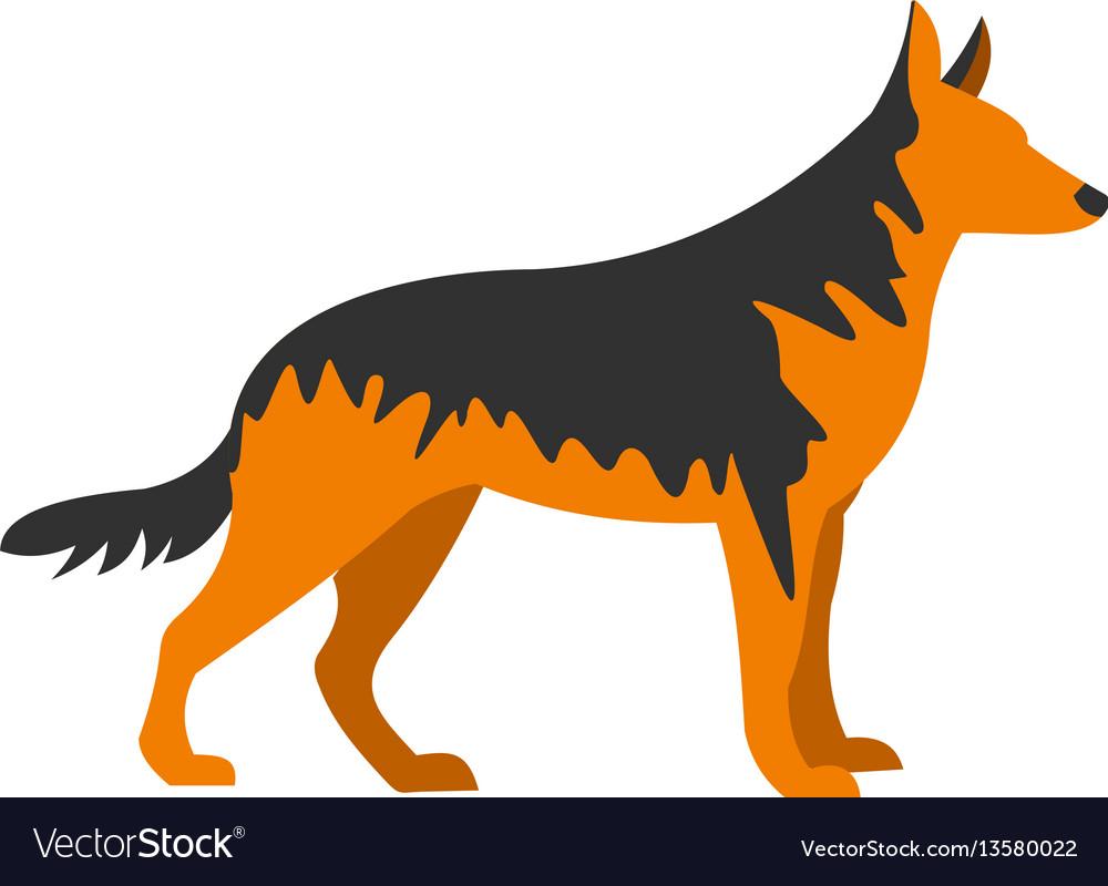 German shepherd dog icon flat style