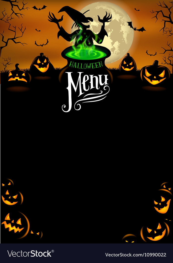 halloween menu template royalty free vector image