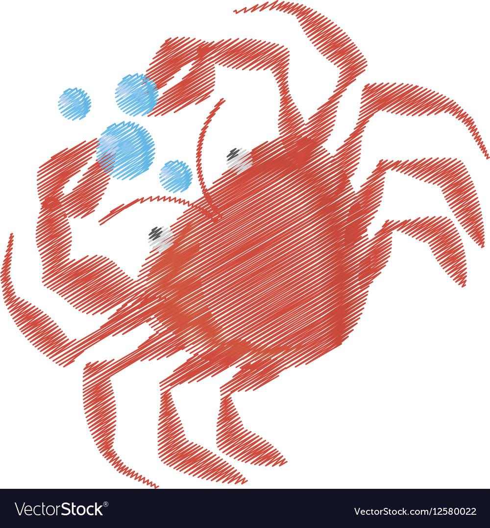 Hand drawing crab sealife crustacean food bubbles
