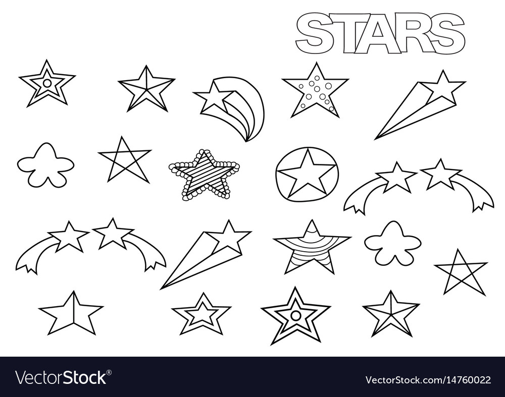 Hand drawn stars set coloring book page Royalty Free Vector
