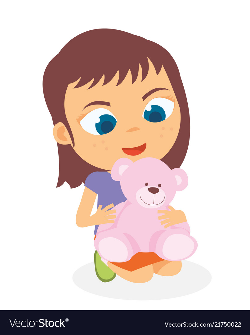Happy Little Girl Playing Her Doll Royalty Free Vector Image