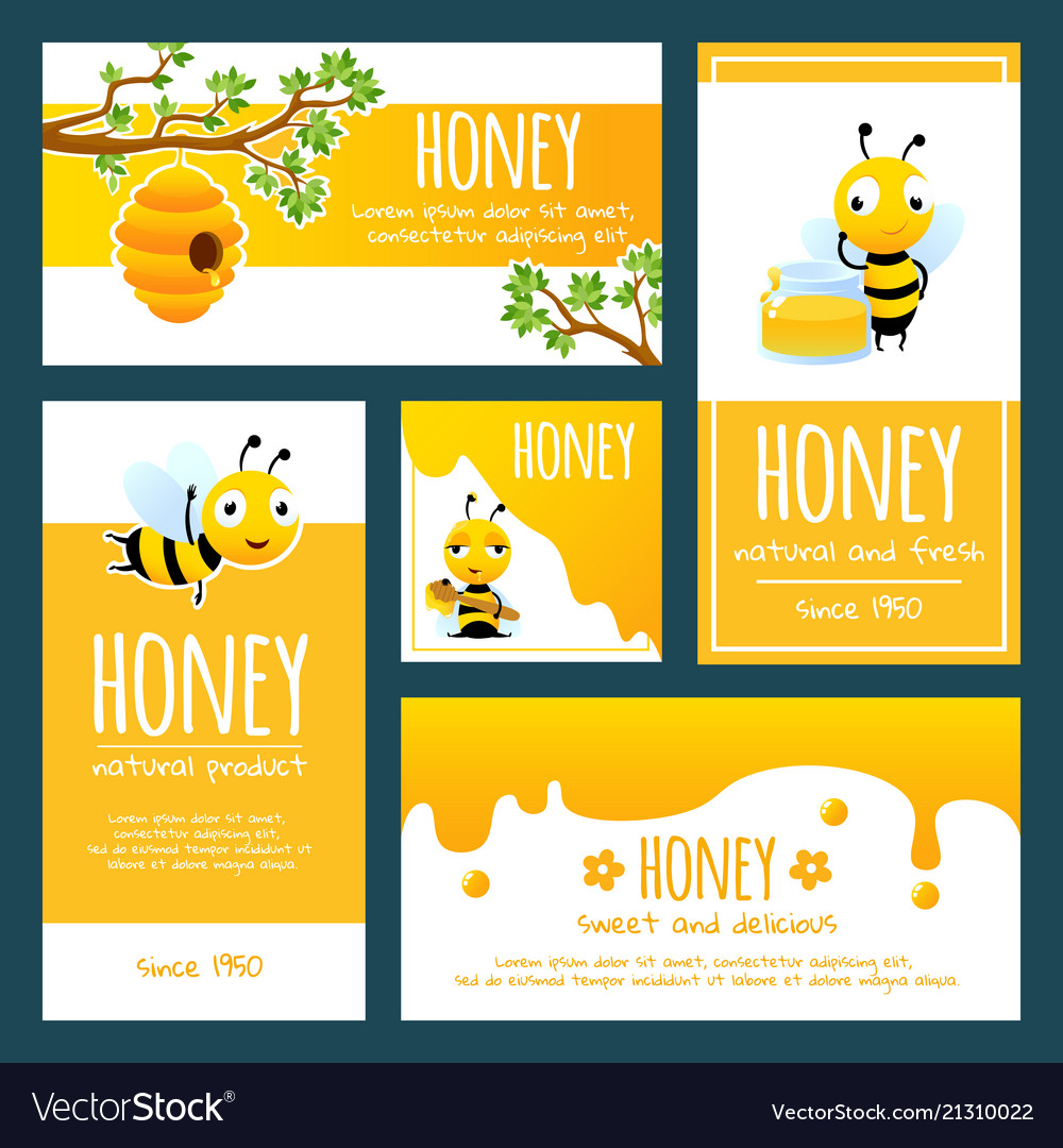 Honey Labels Banners Or Cards Design Template