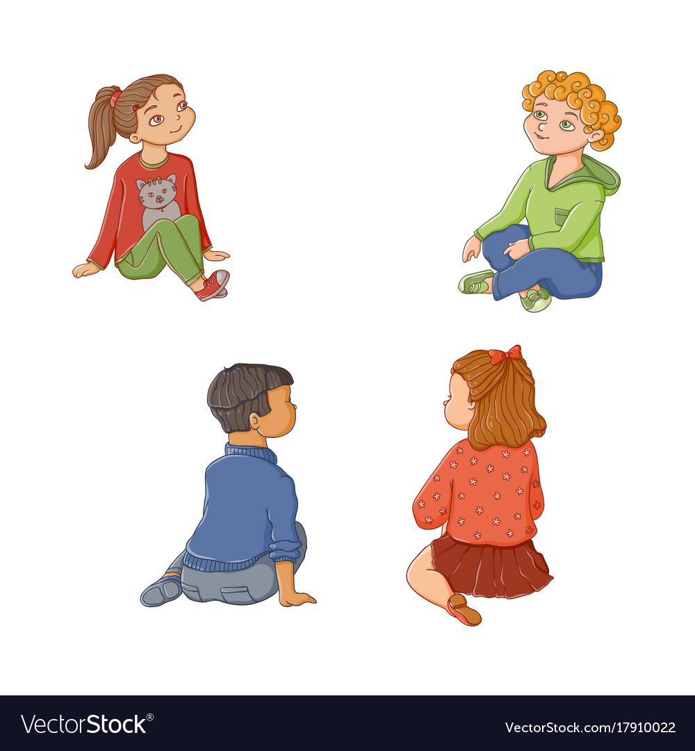 Kids children boys and girls sitting on