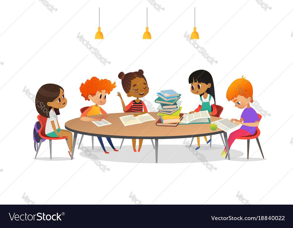 multiracial children sitting around round table vector image