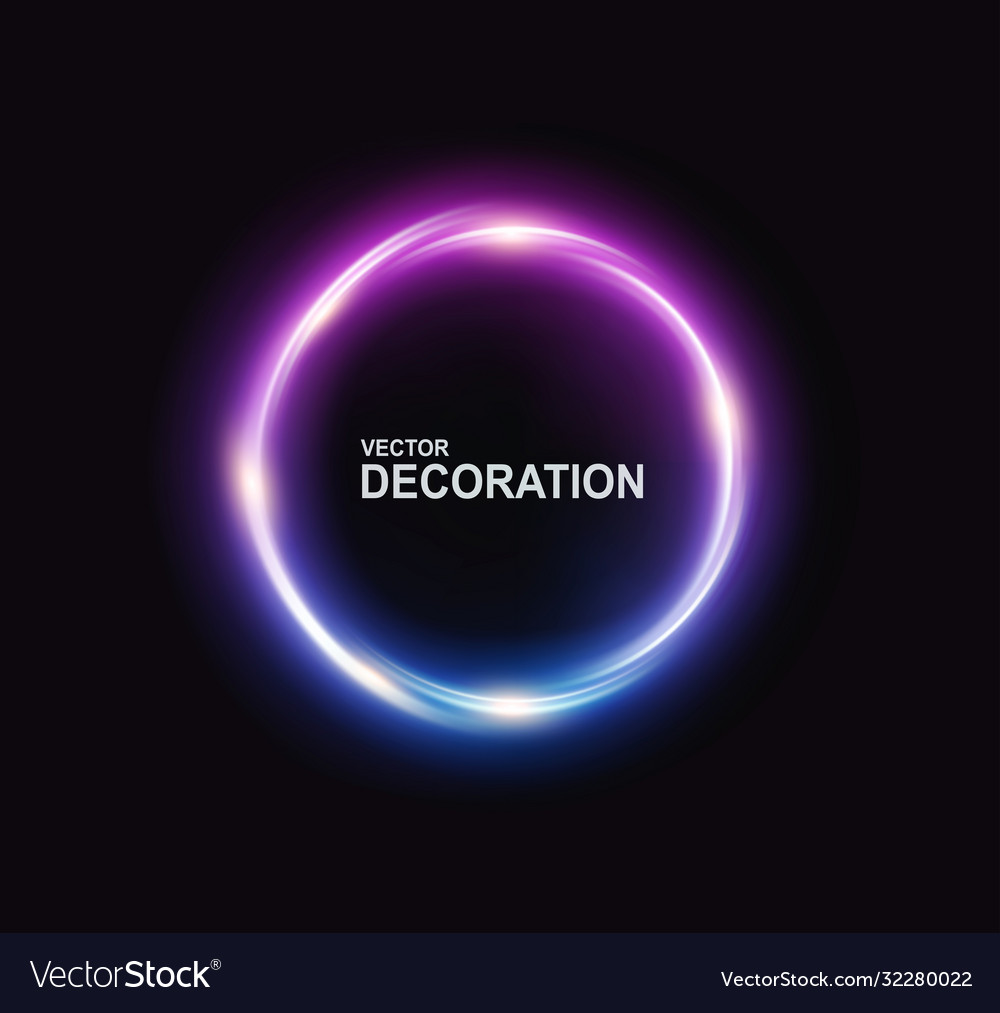 Neon circle with shine on a black