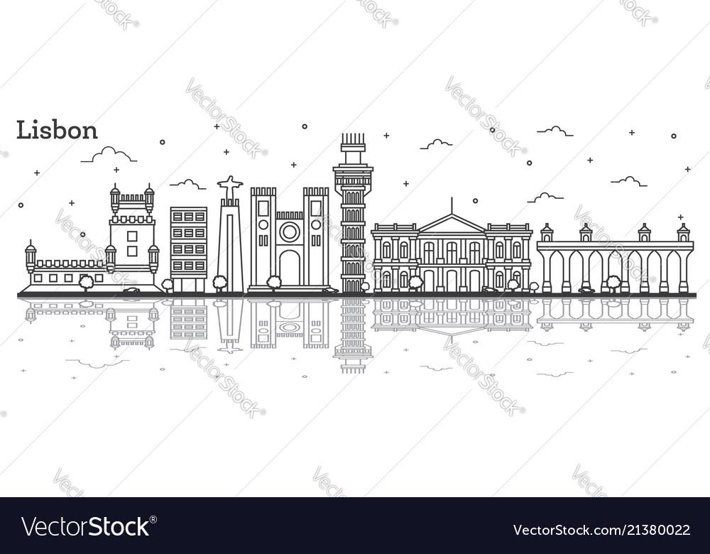 Outline lisbon portugal city skyline