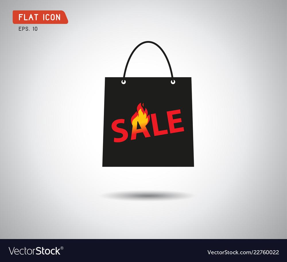 Paper shopping bag icon online shop sale logo