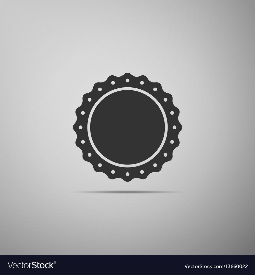 Quality emblem flat icon on grey background