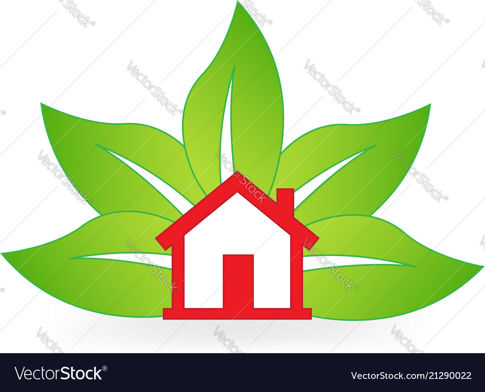 Red isolated house with nature leafs