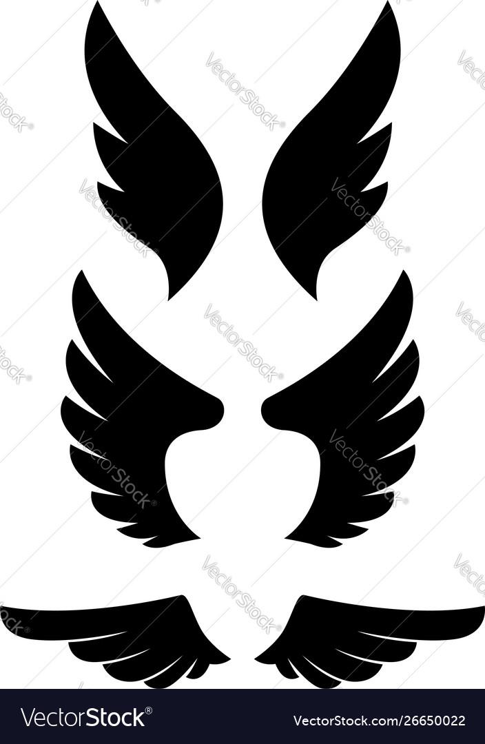 Set eagle wing icons design elements for logo