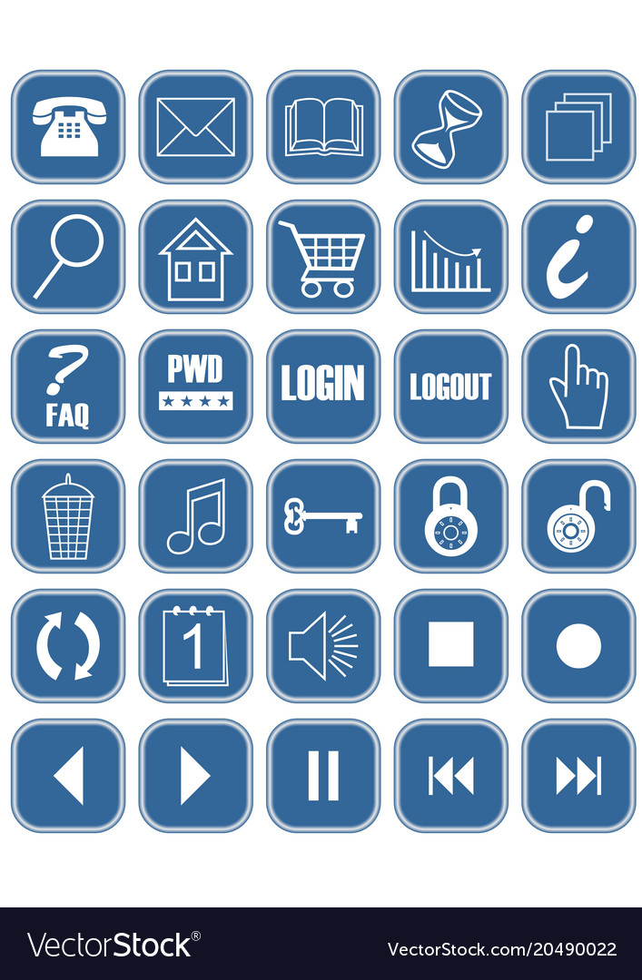 Set of blue office and web icons with white