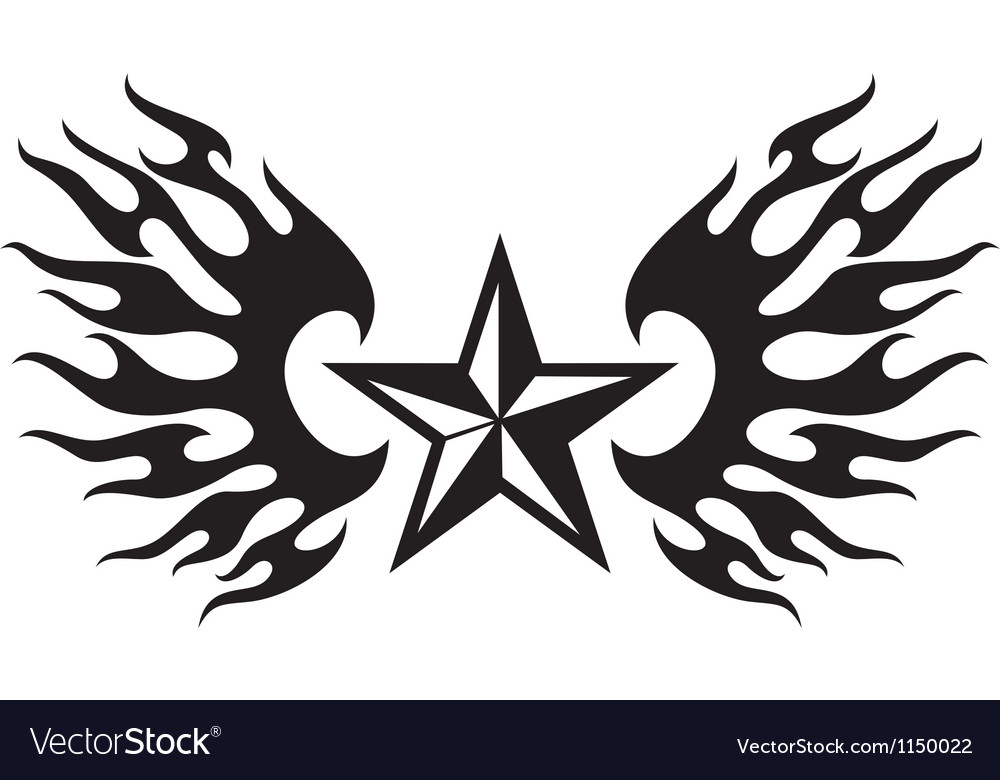 Star and flame wings