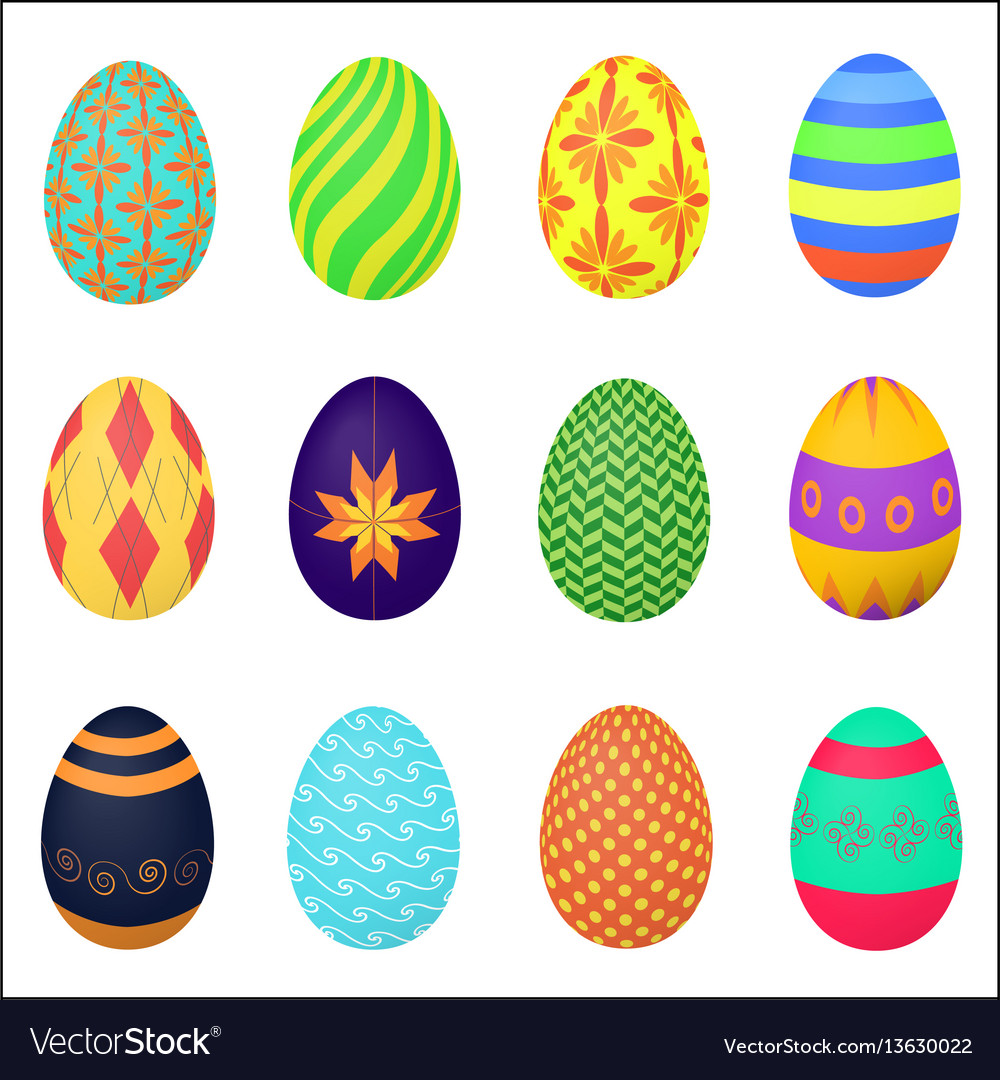 The ornamental colorful easter eggs variety