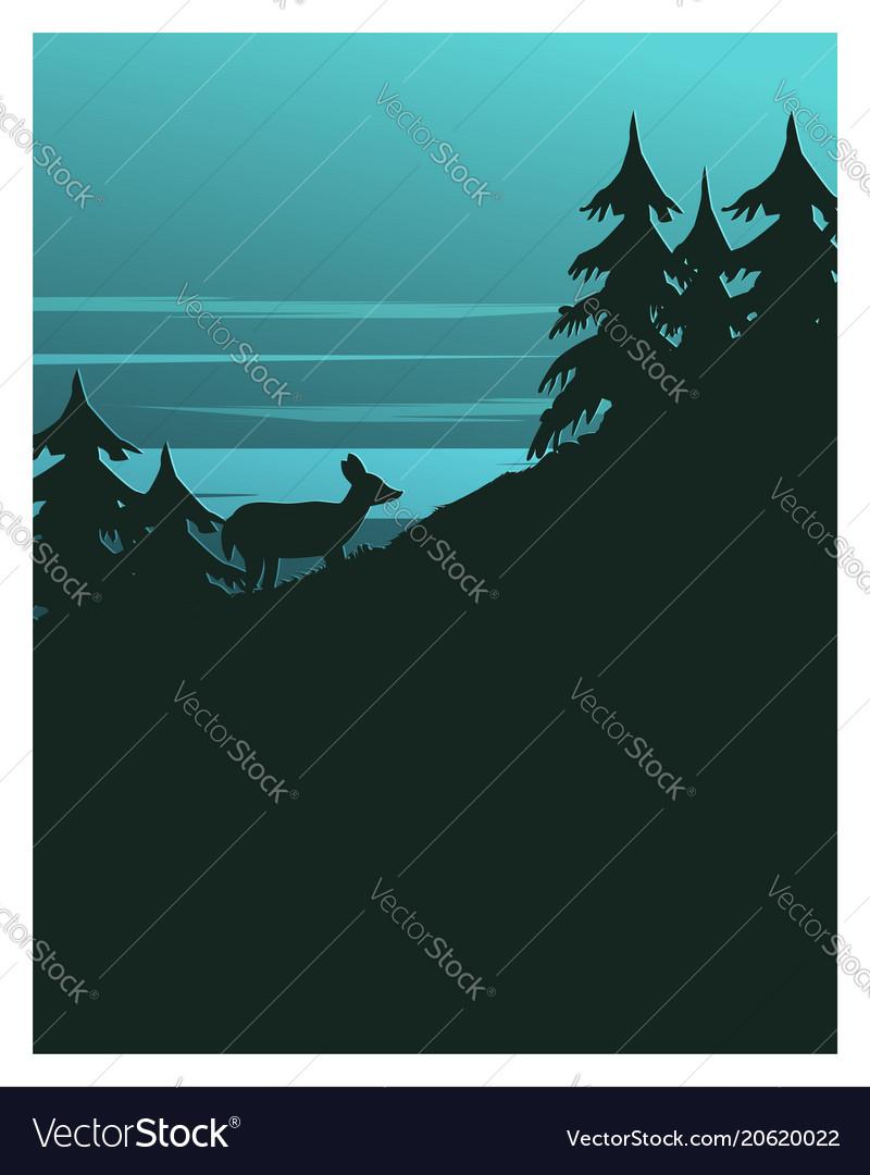 Travel poster deer in the woods