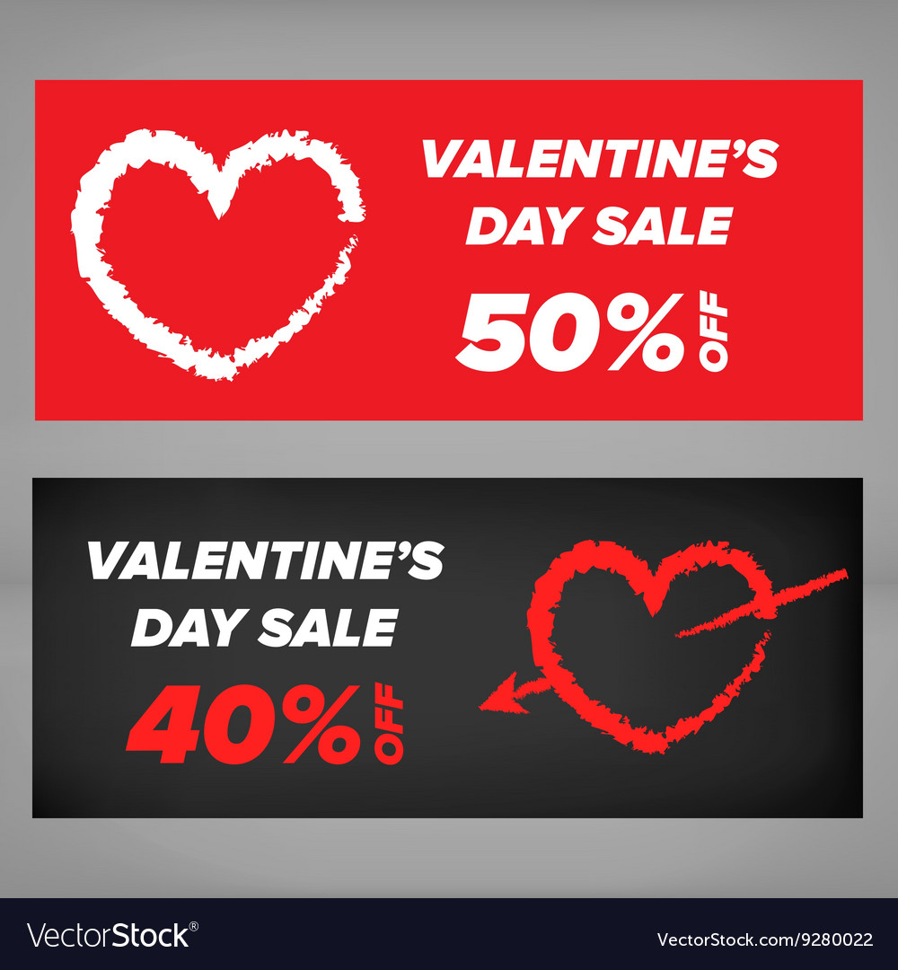 Valentine Day Sale Banner Royalty Free Vector Image