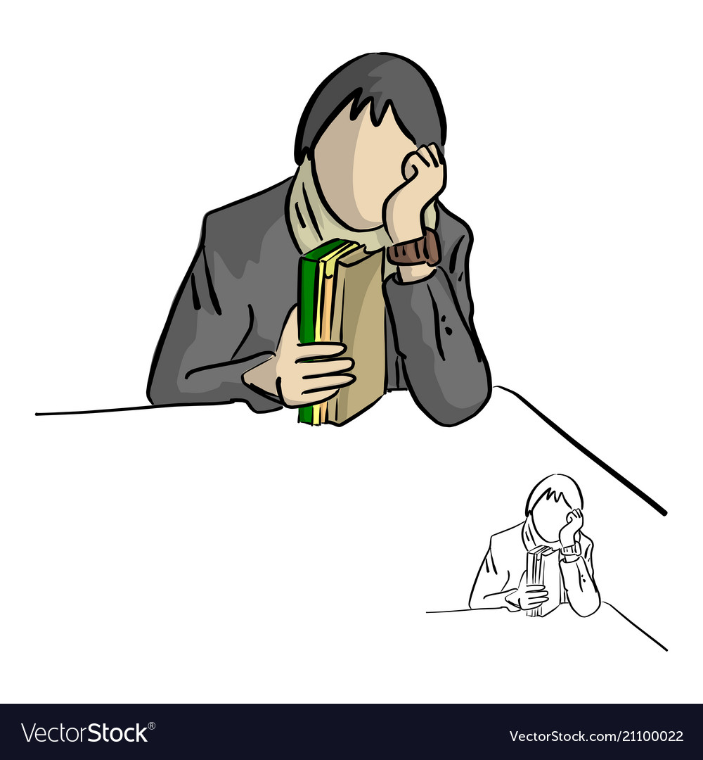Woman holding books on table sketch