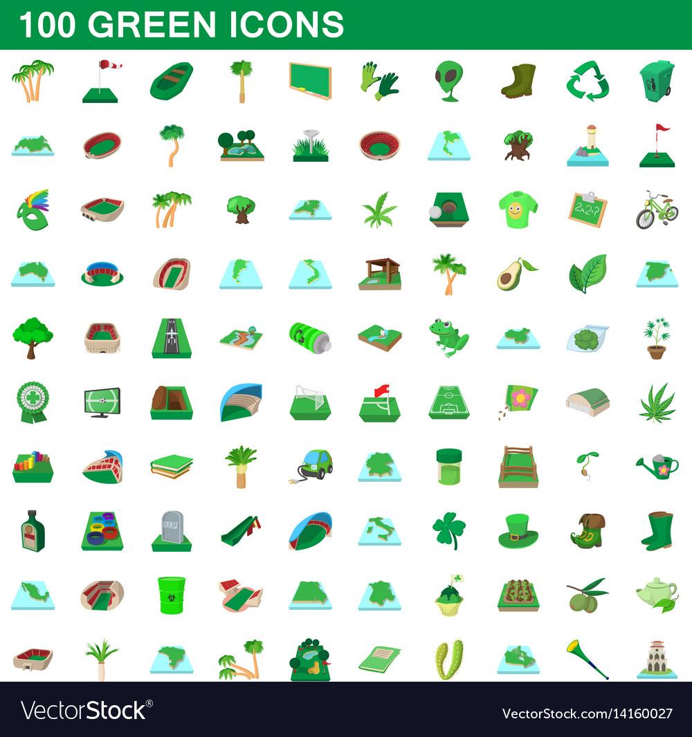 100 green icons set cartoon style vector image