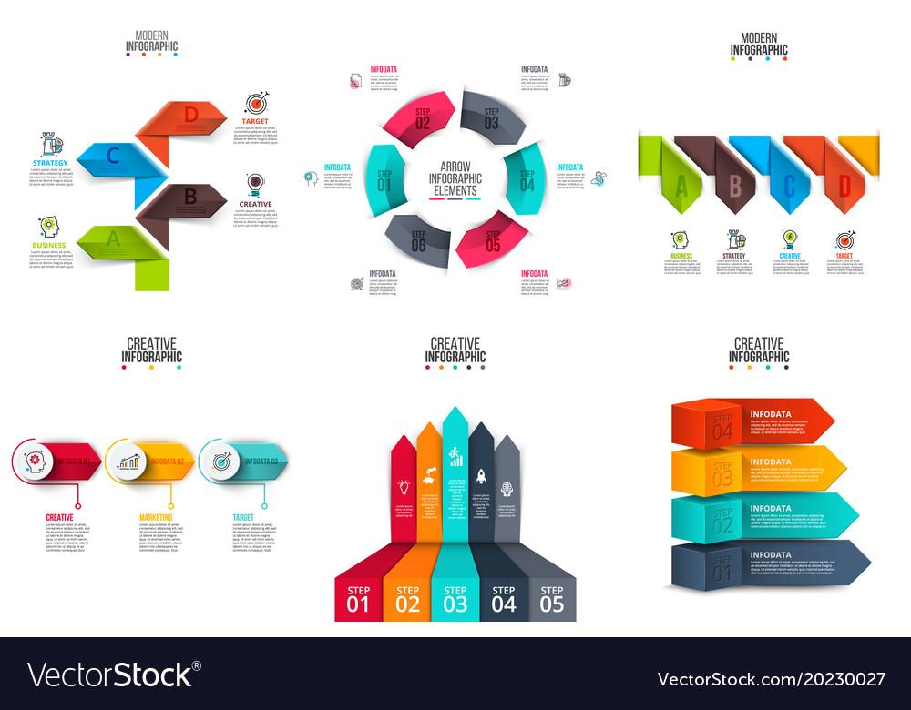 Arrows infographics elements set
