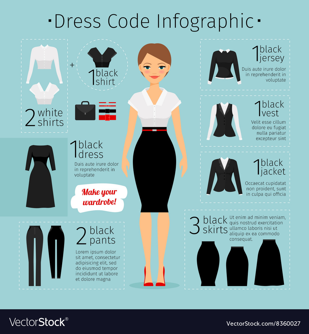 Business woman clothes infographics