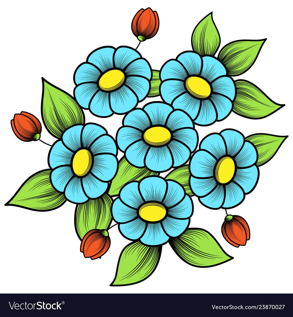 Color flowers patterns set