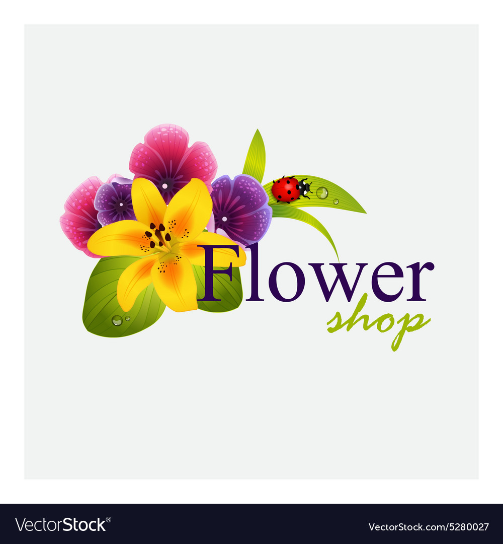 Concept identity for flower shop vector image