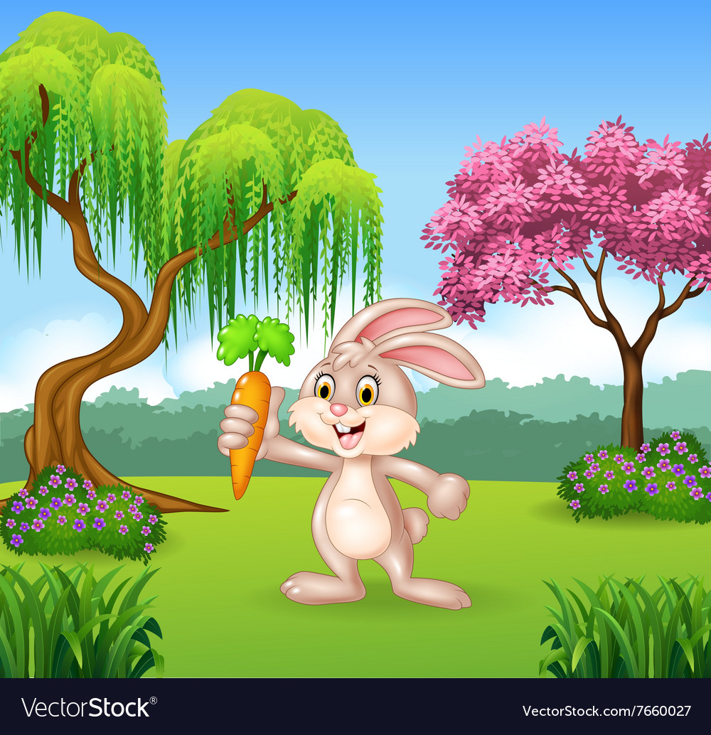 Cute bunny holding carrot in the jungle vector image